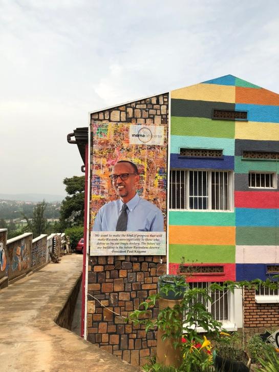 Inema bldg.Paul Kagame mural